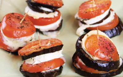 Recette vidéo millefeuilles aubergine tomate & chèvre