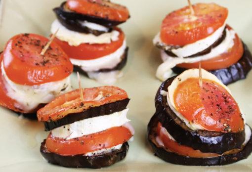 recette vidéo mille feuilles aubergine tomate & chèvre