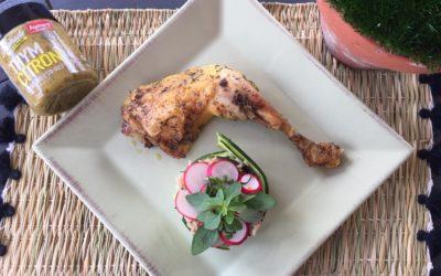 Cuisse de poulet marinée thym citron