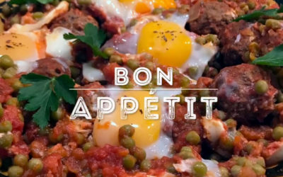 Tajine de boulettes, petits pois, œufs – Assaisonnement Oriental BIO